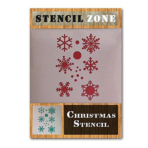 STENCIL ZONE Snow Flake Weihnachtsabend Fenster Kunstschnee Mylar Muster Schablone A4