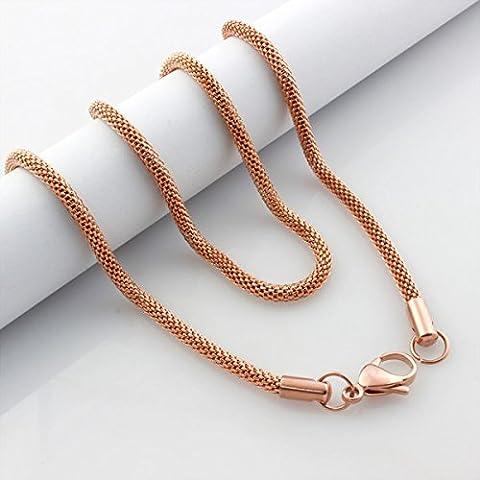 AnaZoz Joyería de Moda Oro Rosa Cadena Serpiente Collar Acero Inoxidable Para Mujer