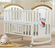 BabyTeddy® 9 in 1 Multifunctional Baby Crib, Baby Wooden Cot, Bed, Rocker,Convertible Desk and Kid's Sofa with