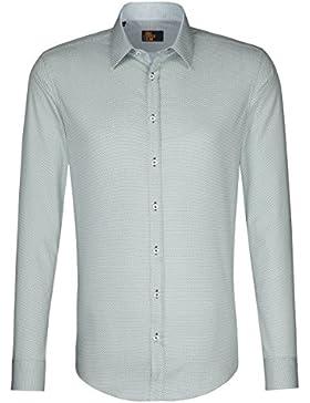 Seidensticker Herren Langarm Hemd UNO Super Slim grün / weiß strukturiert 572920.75