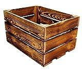 MigiEinkauf 1 Stück Holzkisten Obstkisten Apfelkisten Weinkiste 40x30x23,5 cm TOP (Geflammte)