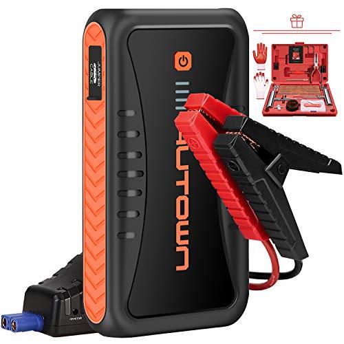 AUTOWN Starthilfe Powerbank, Auto Starthilfe 10000mAh 500A Spitzenstrom, Starter Powerbank mit 12V Ausgang und Dual USB Ausgänge