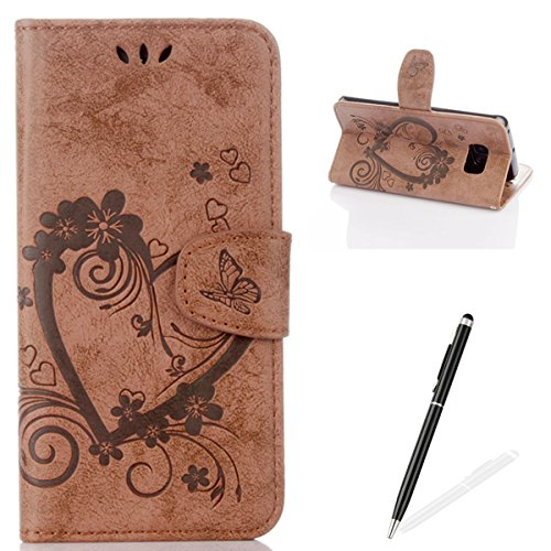 Feeltech Samsung Galaxy S6 Edge Flip case, Luxury Embossed Heart Butterfly Series Design Pattern Premium Ultra Slim PU Leather Wallet Cover [With Free Stylus Pen] Magnetic Clasp Closure Soft TPU Inner Bumper Built-in Foldable Stand Function Pocket Card Sl