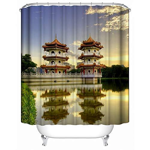 """SHENMAHU SHOP Duschvorhang,(Wasserdicht, antibakteriell) - Skyline-Reflexion auf Dem See mit Turm-Hintergrund-Sonnenuntergang-Ansicht,Polyester Gewebe Dekorative Badezimmer Bad Vorhänge 60"""" x 72"""""""