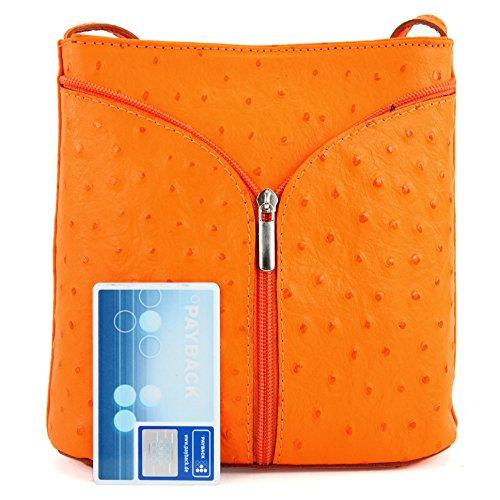 Borsa a tracolla piccola per donna, pelle italiana Strauß D19 Orange/Strauß