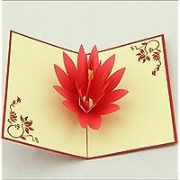 Lotus Flower 3D Pop Up Grußkarte - Handmade Origami Papier Handwerk Kunst 3D popup rote Lotus Orange Staubgefäße Valentines Karte Geburtstag saisonale Gruß Muttertag Hochzeit Einladung Xmas Karten