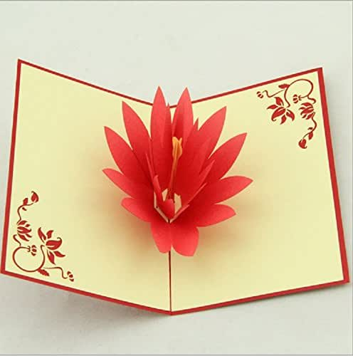 fleur de lotus rouge fait la main 3d pop up popup anniversaire carte origami papier artisanat. Black Bedroom Furniture Sets. Home Design Ideas
