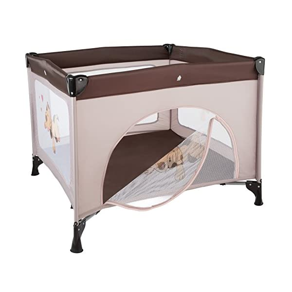 TecTake Portable Child Baby Infant Playpen Travel Cot Bed Crawl Play Area new - different colours - (Brown Coffee | No. 402207)  Only the best for my baby: Our high-quality manufactured baby playpen is excellently suited to play, crawl around and to sleep. // Total dimensions: (LxWxH): 105 x 105 x 78 cm. As it is especially space-savingly collapsible, you won't only use it at home but also when travelling. // Dimensions collapsed (LxWxH): approx. 94 x 20 x 20 cm. The side elements are furnished with breathable mesh-textures, so that you can always keep an eye on your little darling. In addition, the playpen has a padded sleep mat and thus serves as a small travel cot. 3