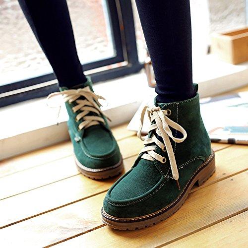 &ZHOU Bottes d'automne et d'hiver courtes bottes femmes adultes Martin bottes Chevalier bottes a35 Green