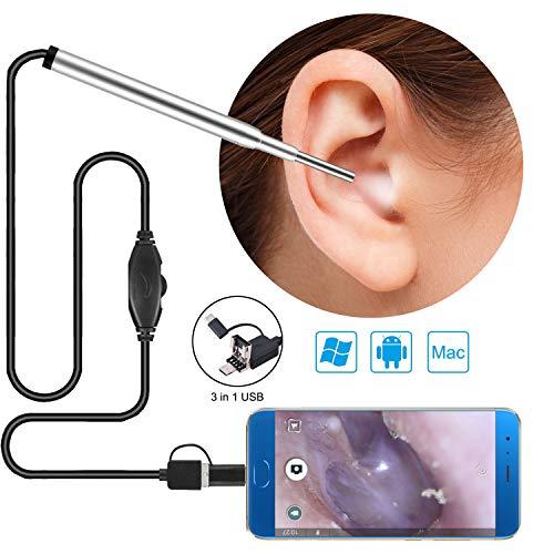 XKRSBS Otoskop 3 der 3,9 mm-Kinder in 1 Ohr-Endoskop-Otoskopie-Kamera mit 6 justierbarem geführtem für PC USB-c Android