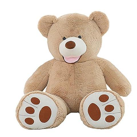 VERCART Teddy Bear Nounours en Peluche Géant Ours Peluches et Doudous Jouet au Premier Age Cadeau d'Anniversaire Decoratif Marron Clair 130CM
