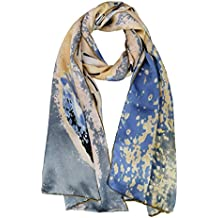Elegna mujeres 100% Seda colección de arte bufandas chal largo mano borde