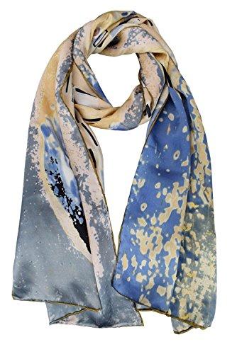 elegna Luxuriöse 100% Charmeuse Seide Art Collection lang Schal mit Hand gerollt Rand Gr. M, Blau - Gustav Klimt
