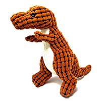Petpany Dog Squeaky Toy Soft Pet Chewing plush Toy with Dinosaur Shape and Squeaky Design,Funny Interactive Sound Teething Toys(orange)