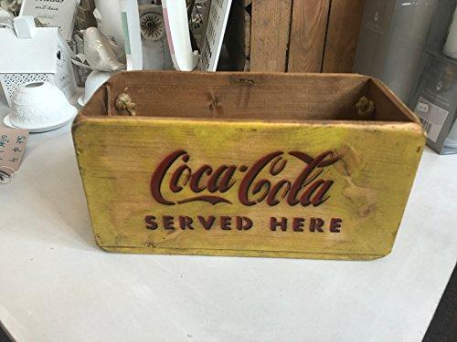 coca-cola-vintage-antique-caisse-boite-de-rangement-en-bois-jaune-30-cm-poignee-en-corde