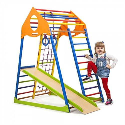 """Kinder Aktivitätsspielzeug Kletterturm mit Rutsche \""""KindwoodColor\"""" Spielcenter Spielplatz"""
