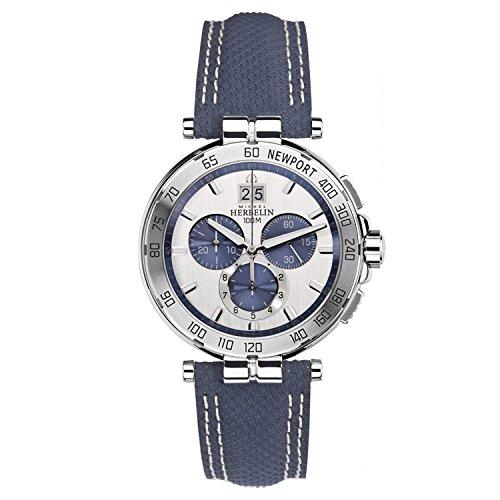 Michel Herbelin Armbanduhr Newport Leder Blau