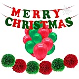 HusDow Merry Christmas Banner Bunting ,6pcs Tissue Paper Pom Poms and 12pcs Latex Christmas Balloons in Red and Green, Perfect for Xmas Decorations Home Party Decor