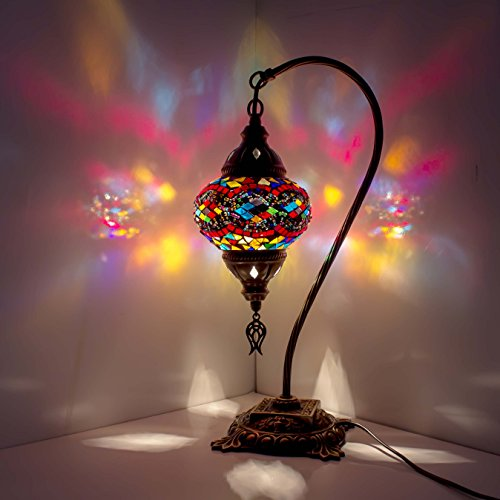 Mosaic Lamp - Turkish Mosaic Table & Desk Lamp,Stunning Moroccan Style, Unique Globe Lampshade, Swan Neck Series (BLUE)
