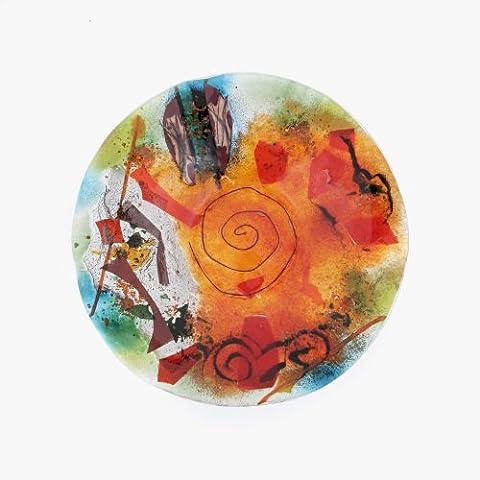 Plateau, Assiette, plateau rond Orange Vert en verre Fusionné faite à la main décoratifs, Service Centre de table 35cm (35,1cm)