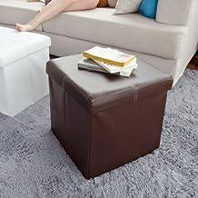 SoBuy® Taburete, puff caja, banco, puff, FSS17-K-KA (marrón, 38cm largo)
