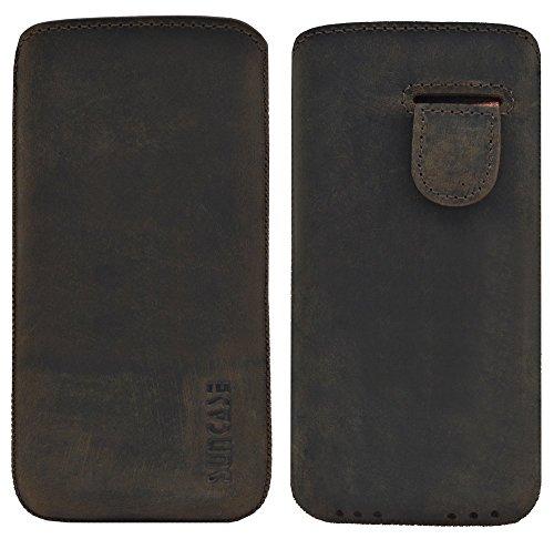 iPhone SE | Original Suncase Tasche Leder Etui Handytasche Ledertasche Schutzhülle Case Hülle *mit Rückzuglasche* cognac antik-braun