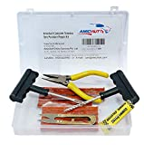 #2: amiciAuto Complete Tubeless Tyre Puncture Repair Kit with Box (Nose Pliers + Cutter + Rubber Cement + Extra Strips)