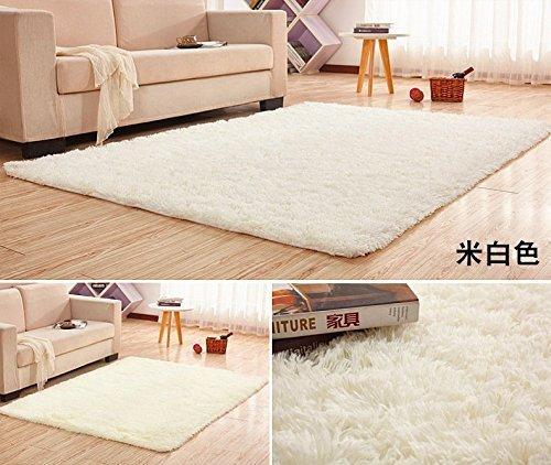 GRENSS 12 Größen Super weicher Seide Wolle Teppich innen Modern shag Teppich seidig Wolldecken Schlafzimmer Fußmatte Baby Nursery Wolldecke Kinder Teppich, Weiß, 500 mm x 800 mm (Teppich Shag Wolle)