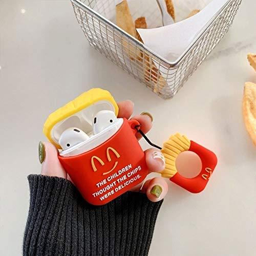 Frys Electronics (FGUL Creative Fries Silikonhülle + Anti-Lost-Lanyard für AirPods 1/2 (kann mit 448038-Verkauf gebündelt Werden) Stil -> # 2, Smile Fries)