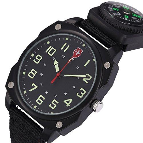 Unendlich U Armee-Stil Schwarz Nylon Gurt Quarzarmbanduhr Unisex Wasserdicht Armbanduhr mit Kompass für Reise/Wandern/Klettern/Expedition/Camping