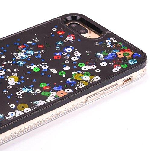 Coque iPhone 7 Plus Liquide, LuckyW Housse Etui PC Matériel Hardcase pour Apple iPhone 7 Plus/7S Plus(5.5 pouces) 3D Bling Glitter Briller Sparkle Éclat Flowing Floating Liquid Liquide Quicksand Sable Evil Eye