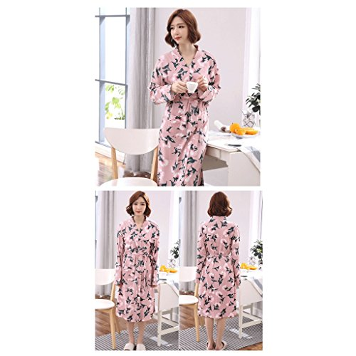 ZLR Autunno Inverno Lady a maniche lunghe Sleep Robe Pure Cotton Moda pigiama Middle Long Section Home Clothes Accappatoio ( Colore : C , dimensioni : L. ) A