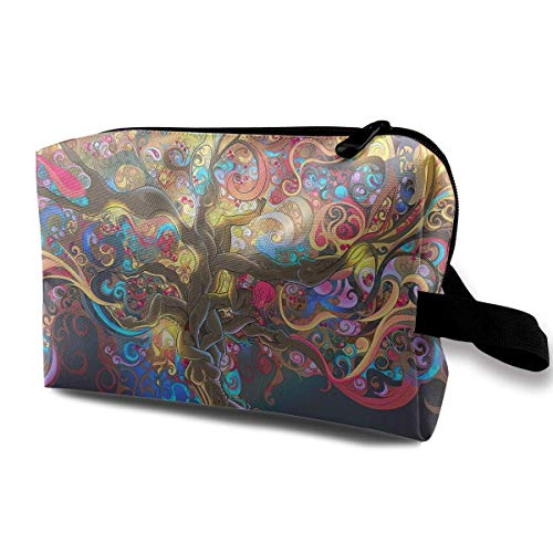 Portable Travel Cosmetic Bag Colorful Trippy Tree Art Lady Makeup Travel Toiletry Storage Bag Designer Fabric Hair Tie