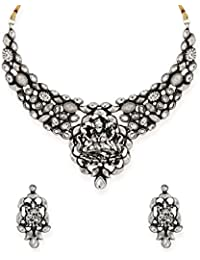 Zaveri Pearls Antique Silver-Toned Divine Goddess Temple Necklace Set-ZPFK6602