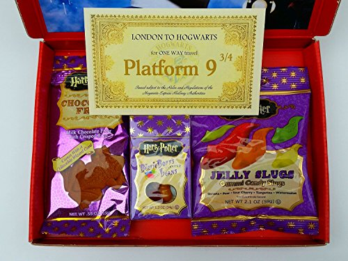 Image of Harry Potter Gift Box Chocolate Frog Bertie Bott's Beans Jelly Slugs Sweets Child's Birthday Present Hogwarts Christmas Gift