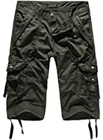 HEMOON Men's Military Style Twill Cargo Shorts Quick-dry Summer Shorts (WITHOUT BELT)