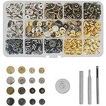 Misscrafts 100 broches de metal para botones de presión, color dorado/plateado/bronce