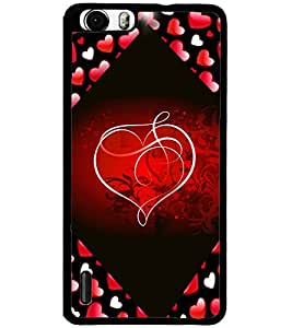 ColourCraft Love Heart Design Back Case Cover for HUAWEI HONOR 6