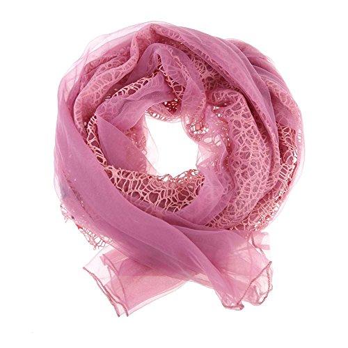Corde de haute qualité pour femme en mousseline de soie Col bénitier été Écharpe Tube de Type Velcro Rose - Fuchsia