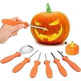 VZATT Kit de Sculpture de Citrouille, 6 Pièces Halloween Pumpkin Carving Kit Outils de Sculpture de Citrouille en Acier Inoxy