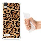 WoowCase Bq Aquaris E4 Hülle, Handyhülle Silikon für [ Bq Aquaris E4 ] Tier Leoparddruck Handytasche Handy Cover Case Schutzhülle Flexible TPU - Transparent