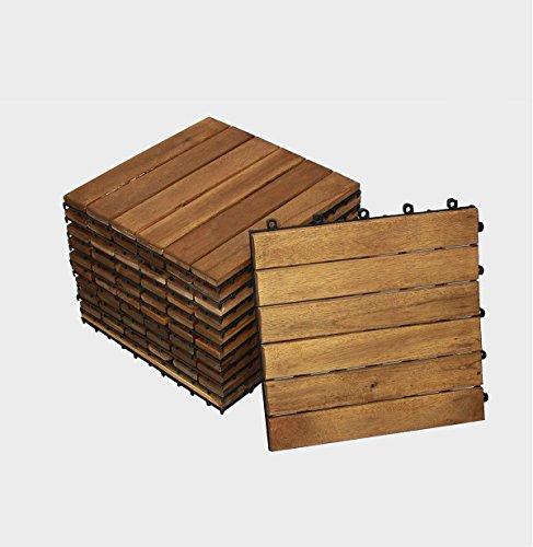 SAM® Terrassenfliese Variante 1 Akazienholz, 11er Spar-Set für 1m², Garten- Klickfliese, Bodenbelag, Drainage, FSC®100%