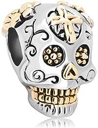 Uniqueen – Abalorio de cráneo de Halloween para regalo, compatible con pulseras Pandora, Chamilia & troll
