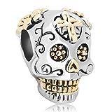Pugster New Gold Plated Dia De Los Muertos Skeleton Skull Cross Charm Beads Fits Pandora Bracelet
