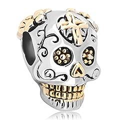Idea Regalo - LuckyClover, ciondolo a forma di teschio con la croce per braccialetti Pandora