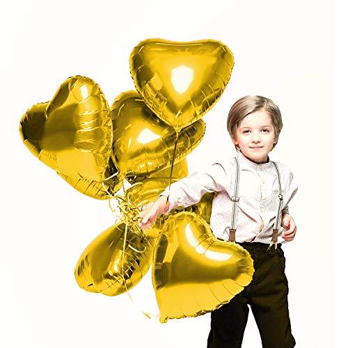 CozofLuv 25 Stück 18 Zoll Gold Herzballons Folienballons Luftballons Herzform Heliumballons Herzluftballons für Geburtstag Valentinstag Hochzeit Verlobung (Gold)