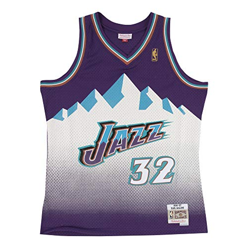 Mitchell & Ness Karl Malone #32 Utah Jazz 1996-97 Swingman NBA Trikot Lila, XXL