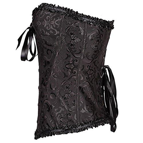 Fletion,corsetto con motivo floreale, con lacci e orlo plissettato, bustino modellante in satin, con stecche in acciaio, allacciatura stretta, lingerie sexy e da sposa per abiti attillati + perizoma. Black