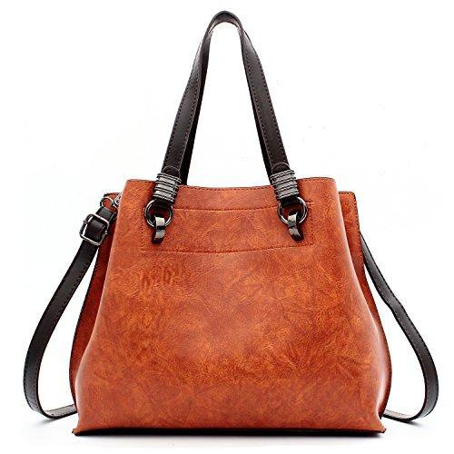 ALARION Damen-Portemonnaies und Handtaschen, Schultertasche für Damen, Designer-Schultasche, Messenger, Tragetasche, (2-abrown), Medium -