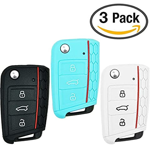 Keycarry® 3 PACK Silikon Auto Key Cover, Halter | Schlüsselhülle, Fernbedienung Schlüsselcover | Universal Zubehör Autoschlüssel für Volkswagen VW Golf 7 Mk7 Skoda Octavia 3 A7 (Schwarz, Weiß, Neon Blau)
